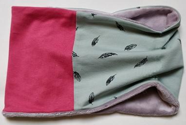 neckwarmer pluim munt roze grey